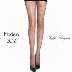 Meia calça arrastao com strass preta - Yaffa Lingerie