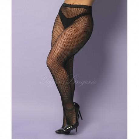 Meia calça arrastão 7/8 preta inteira com rendas em formato de cristal - YAFFA Lingerie