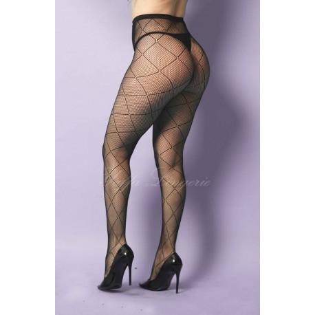Meia Calça Arrastão com Desenho Geométrico Yaffa - Y2062 - preto